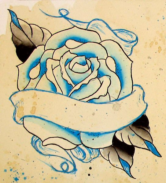Free Banner And Rose Tattoo Design
