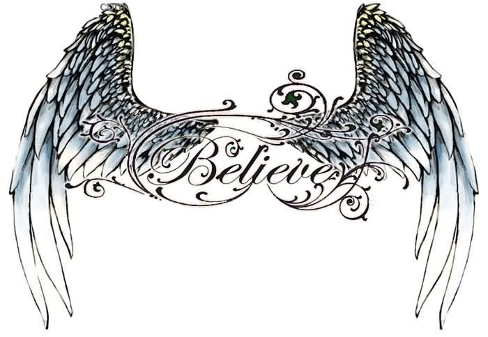 Free Believe Angel Wings Tattoo Design