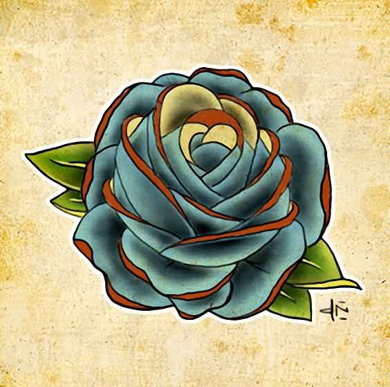 Free Blue Rose Tattoo Design