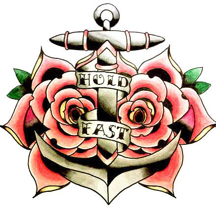 Free Hold Fast Anchor And Rose Tattoo Designs