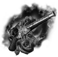 Free Old Pistol And Black Rose Tattoo Designs