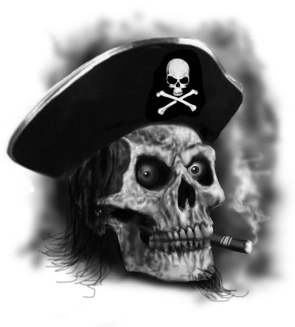 Free Pirate Skull Smoking Tattoo Design