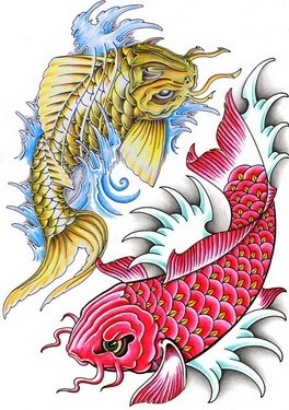 Free Pisces Koi Fish Tattoo Design