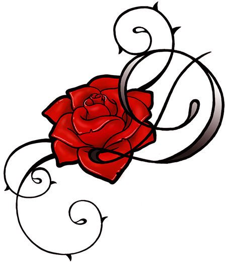 Free Red Rose And Swirls Tattoos Design
