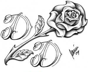 Free Rose And Alphabet D Tattoo Designs