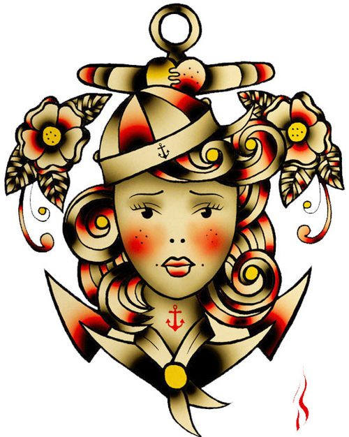 Free Sailor Jerry Anchor Pin Up Girl Tattoo Stencil