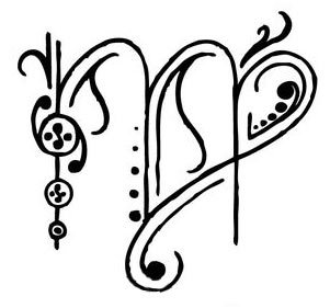 Free Swirls Virgo Symbol Tattoo Design