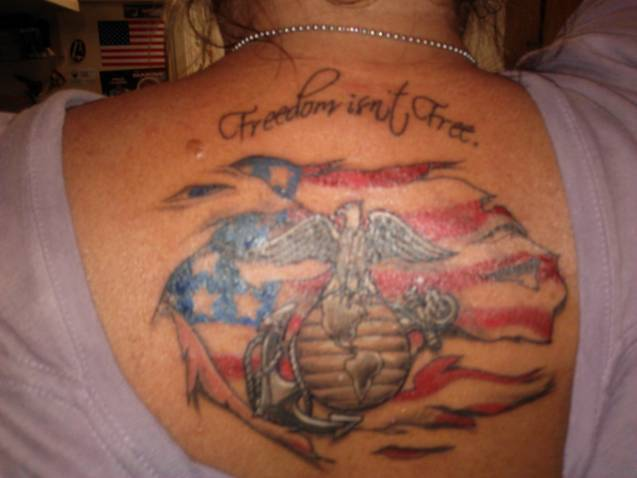Freedom Patriotic Tattoos On Upperback For Girls And Women