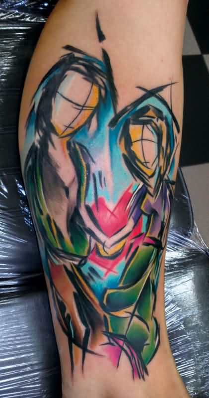 Fresh Abstract Couple Tattoos