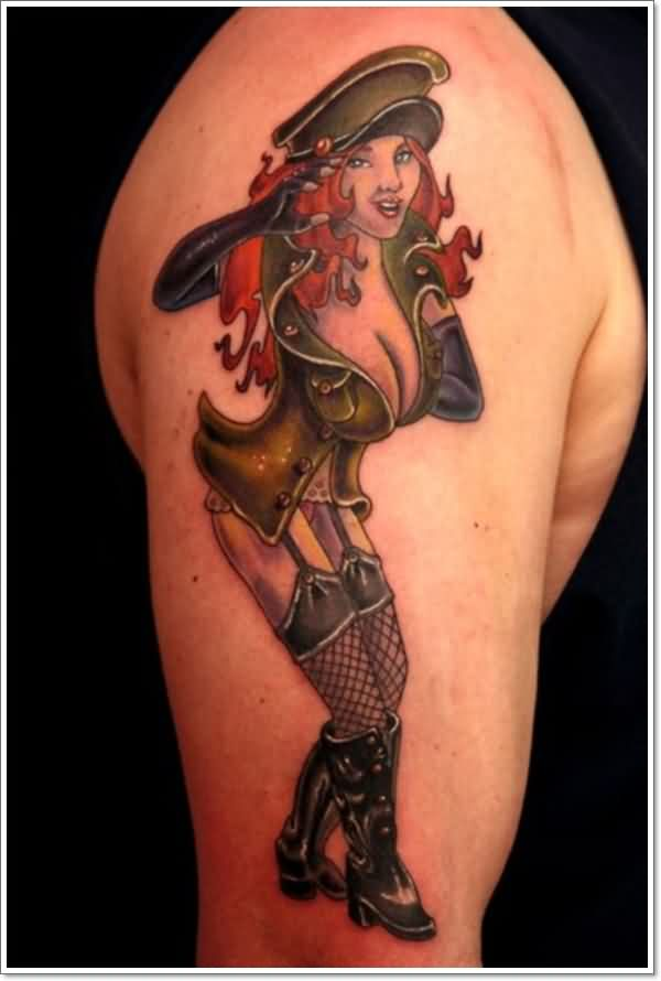 Fresh Army Pinup Girl Tattoo On Arm