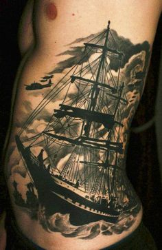Fresh Black Ink Sailing Ship Tattoo On Rib Side
