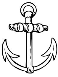 Fresh Black Outline Anchor Tattoo Design