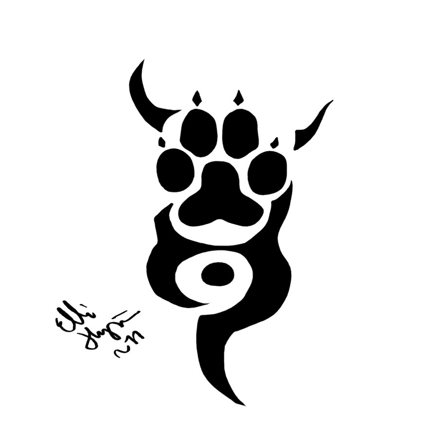 Fresh Black Paw Tribal Tattoo Design