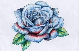 Fresh Blue Rose Tattoo Design