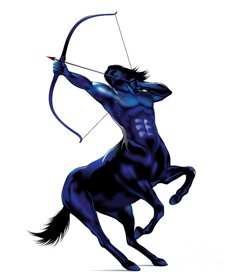 Fresh Blue Sagittarius Zodiac Tattoo Design