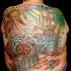 Fresh Colorful Pirate Tattoos On Whole Back