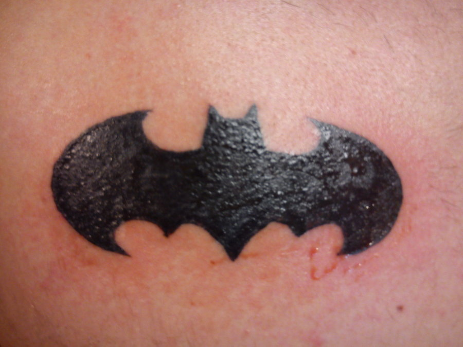 Fresh Dark Ink Batman Symbol Tattoo