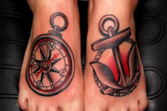 Fresh Grey Ink Nautical Compass And Anchor Tattoos On Feet