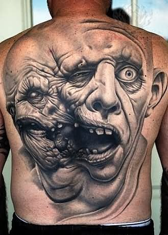Fresh Grey Ink Scary People Tattoos On Backbody