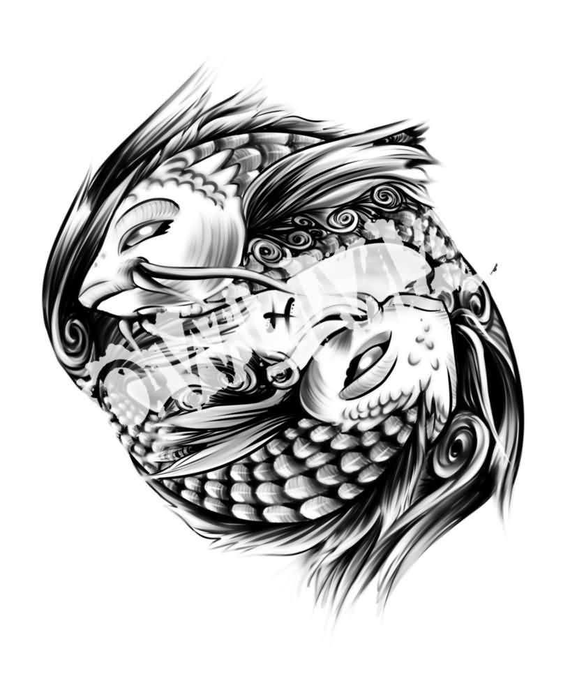 Fresh Grey Pisces Fish Tattoo Designs