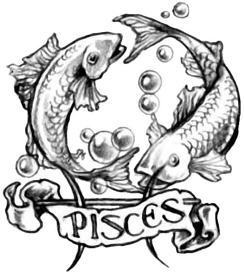 Fresh Grey Pisces Koi Fish Tattoo Design