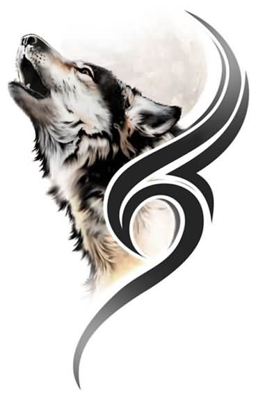 Fresh Howling Wolf And Tribal Tattoo Designs