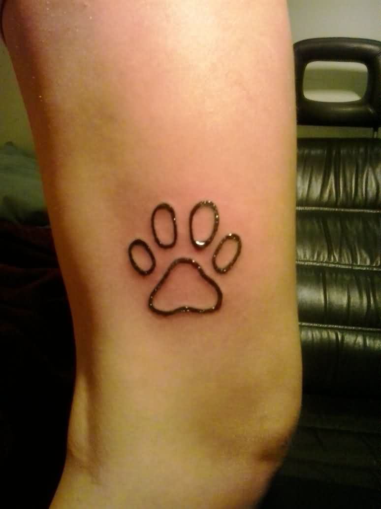 Fresh Ink Outline Paw Print Tattoo