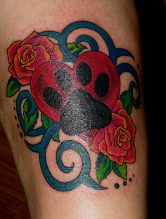 Fresh Ink Paw Print Heart And Rose Tattoos