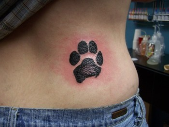 Fresh Ink Paw Print Tattoo On Right Waist