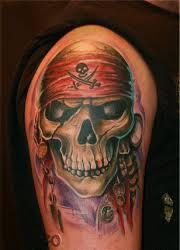 Fresh Ink Pirate Skull Tattoo On Arm