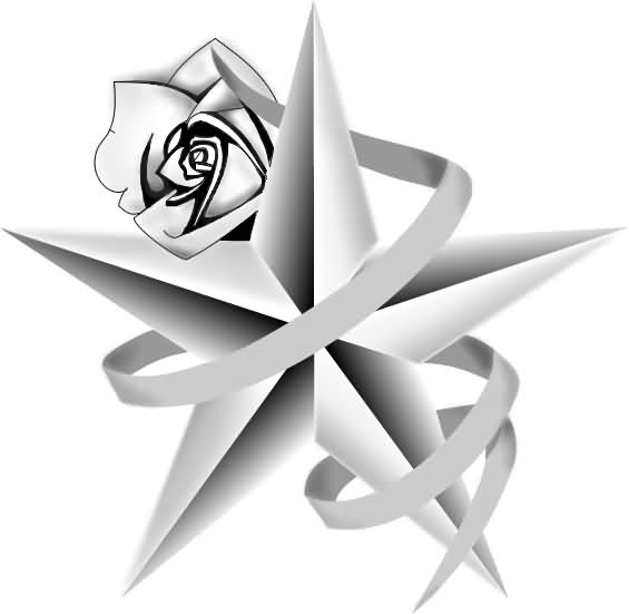 Fresh Ink Rose Nautical Star And Banner Tattoo Designs