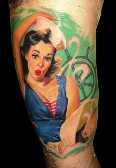 Fresh Ink Sailor Pin Up Girl Tattoo