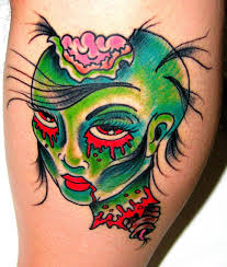 Fresh Ink Zombie Pin Up Face Tattoo