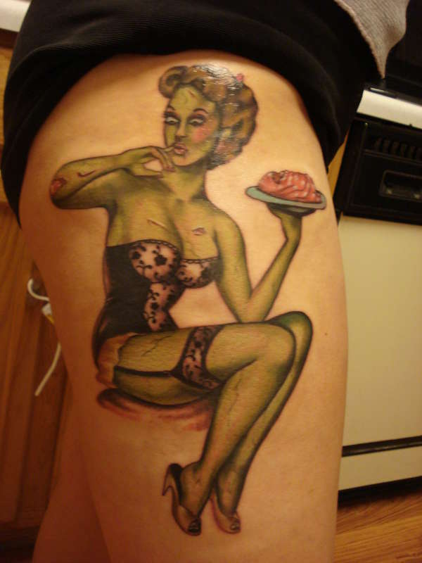 Fresh Ink Zombie Pin Up Girl With Cake Tattoo On Thigh