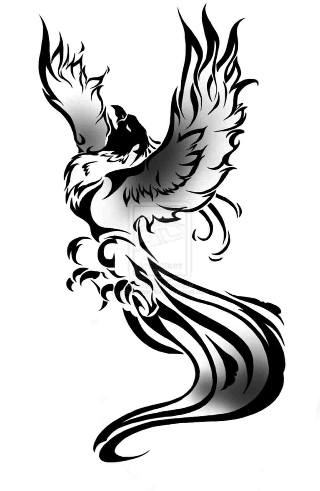 Fresh Lady Phoenix Tattoo Design