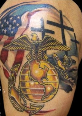 Fresh Military Patriotic Tattoos On Shoulder