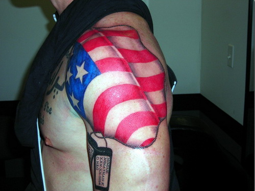 Fresh Patriotic Tattoos On Shoulder