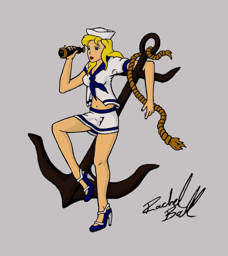 Fresh Pin Up Sailor Girl On Black Anchor Tattoo Design