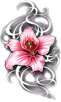Fresh Pink Flower Tattoo Design