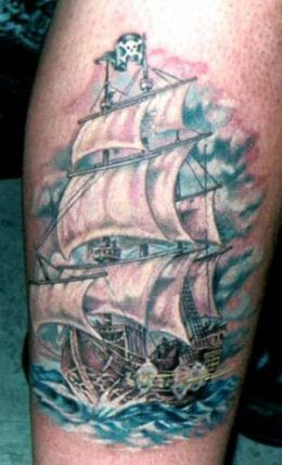 Fresh Pirate Ship In Water Tattoo