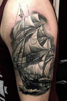 Fresh Pirate Ship Tattoo On Arm