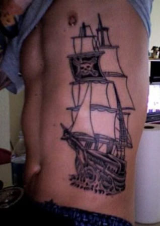 Fresh Pirate Tattoo On Ribs