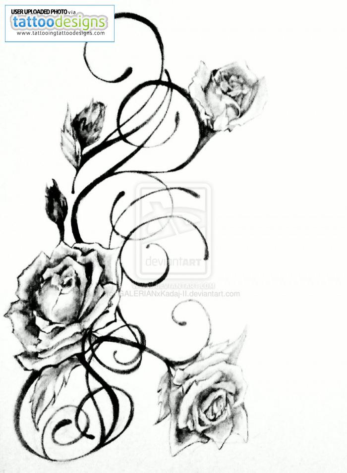 Fresh Rose Vine Tattoo Design