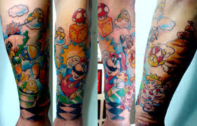 Fresh Super Mario Sleeve Tattoos