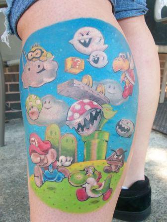 Fresh Super Mario Tattoos On Leg For Boys