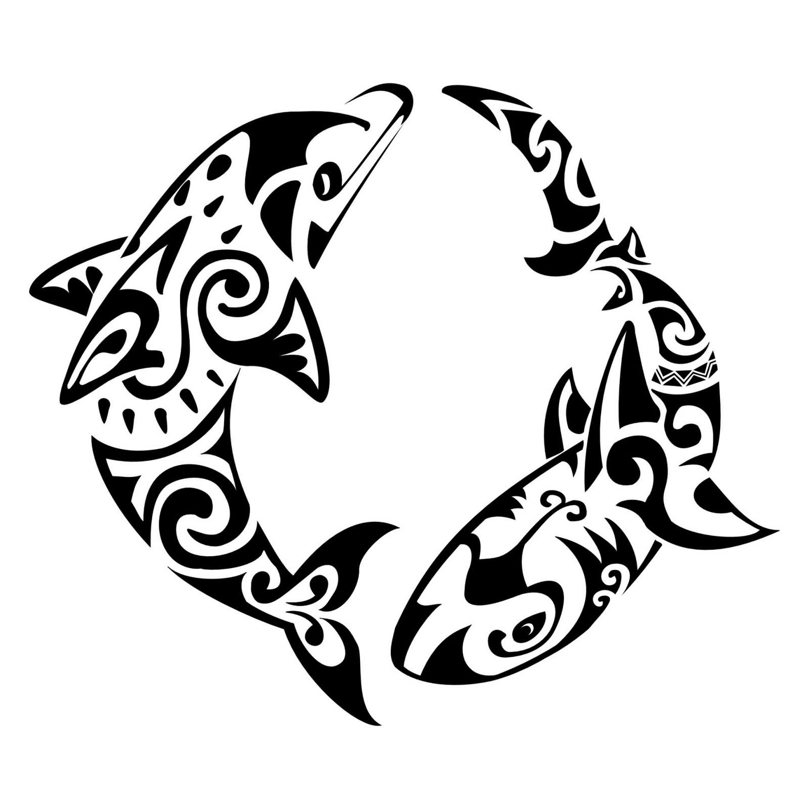 Fresh Tribal Dolphin Pisces Tattoo Design