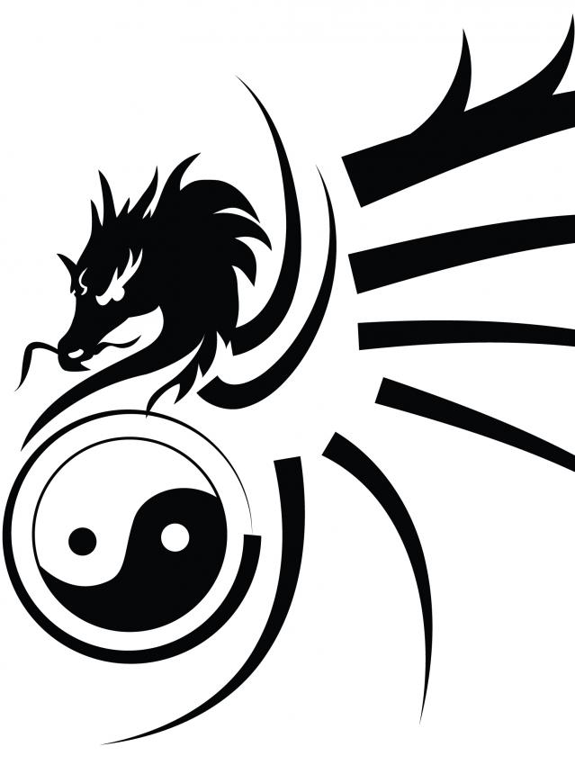Fresh Tribal Dragon Yin Yang Tattoo Stencil