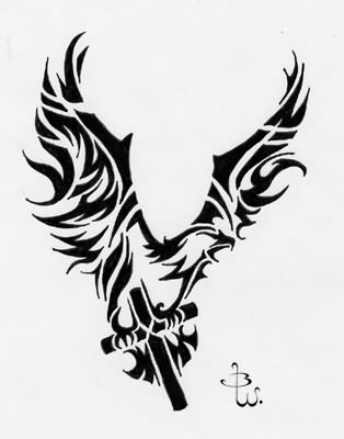 Fresh Tribal Eagle With A Cross Tattoo Design