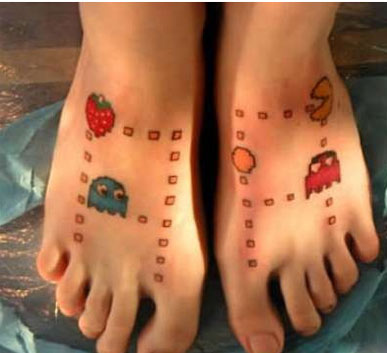 Fresh Video Game Tattoos On Feet