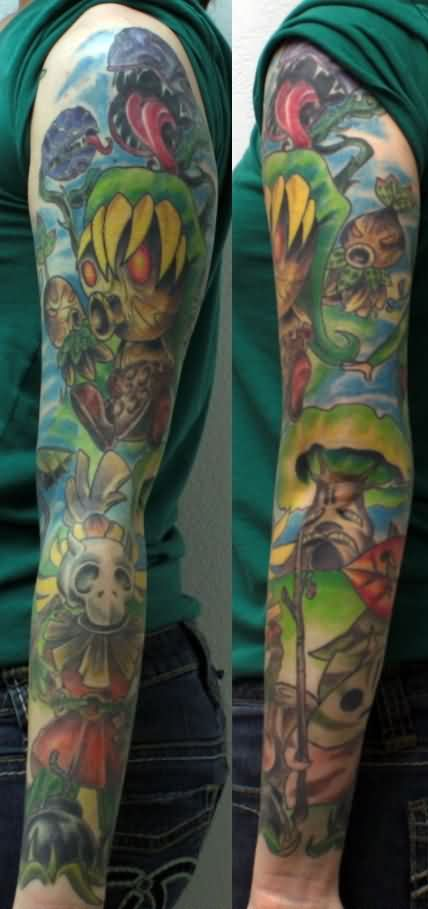 Fresh Video Game Zelda Sleeve Tattoos